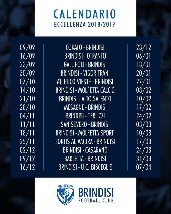 Campionato Eccellenza 2018/2019: ecco le date ufficiali per il Brindisi
