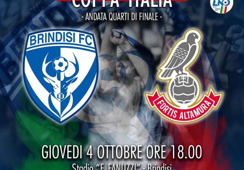 BRINDISI - F.ALTAMURA: biglietti diponibili in prevendita per la gara di Coppa Italia
